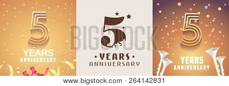 5 Years Anniversary Set Of Vector Icon, Symbol. Graphic Design Element With Festive Golden Backgroun