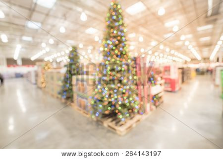 Abstract Blurred Huge Christmas Tree Decoration At Wholesale Hypermarket In America