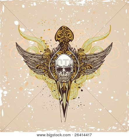vector illustration of skull with wings on grunge background
