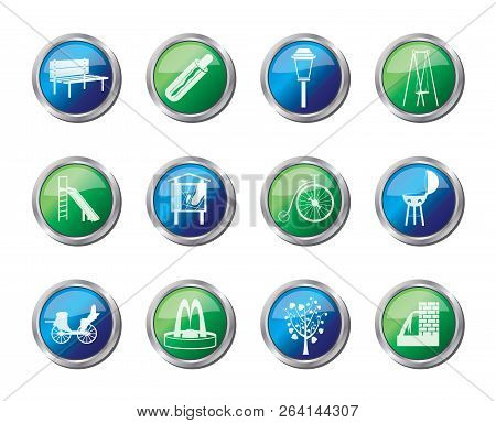 Park Objects And Signs Icons Over Colored Background - Vector Icon Set