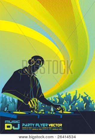 dj mixing music and dancing crowd-vector illustration