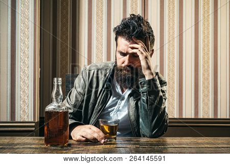 Alcoholism. Addiction Crisis. Alcohol Addiction And People Concept Male Alcoholic Drinking Cognac At