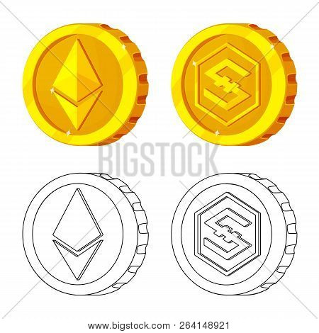 Isolated Object Of Cryptocurrency And Coin Symbol. Set Of Cryptocurrency And Crypto Stock Symbol For