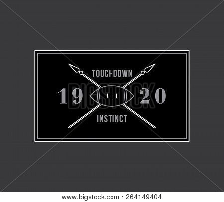 American Football Touchdown Instinct White On Black Is A Vector Illustration About Sport