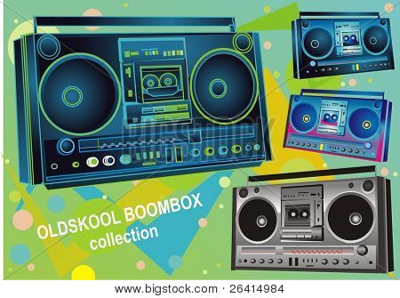 set of four retro boombox /audiotape players from the 80's,vector illustration