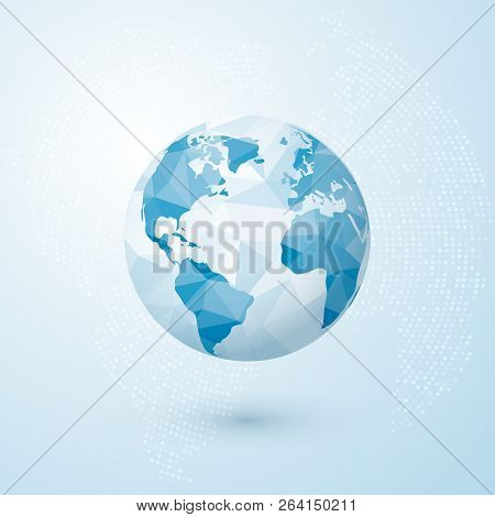 Polygonal Globe. World Globe Map. Creative Earth Concept. Vector Illustration Isolated On Blue Backg