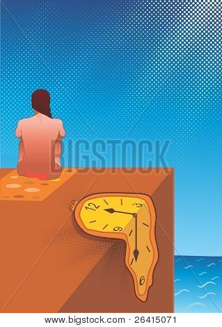 A girl on the beach,and a melted clock from the heat of the sun. vector illustration