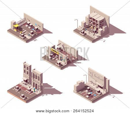 Vector Isometric Car Parking Icon Set. Includes Street Parking, Manned And Guarded Parking, Undergro