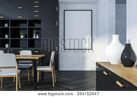Interior Of Dining Room With White Walls, Wooden Floor, Long Table With Chairs And Black Cupboard. 3