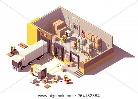 Vector Isometric Low Poly Warehouse Cross-section. Includes Trucks With Crates, Pallets, Loading Doc