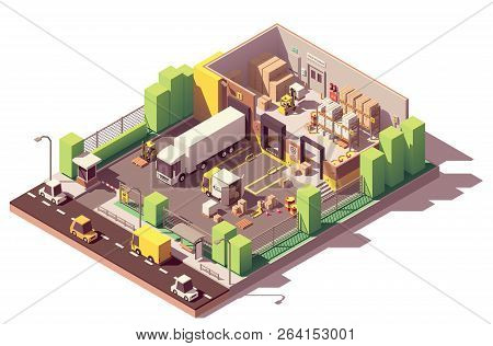 Vector Isometric Low Poly Warehouse Cross-section. Includes Trucks, Crates And Pallets, Loading Dock