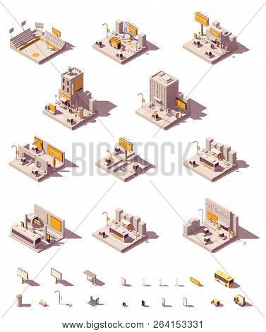 Vector Isometric Outdoor Advertising Icon Set Showing Different Advertising Media - Billboard And Ci