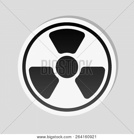 Hazard, Radiation. Simple Silhouette. Sticker Style With White Border And Simple Shadow On Gray Back