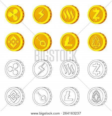 Vector Design Of Cryptocurrency And Coin Sign. Collection Of Cryptocurrency And Crypto Stock Symbol