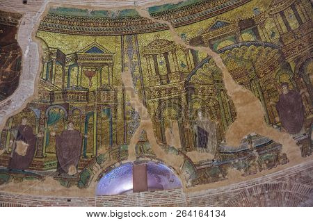 Thessaloniki, Greece -january 3,2018: Mosaic On Dome Inside Of Rotunda Of Galerius