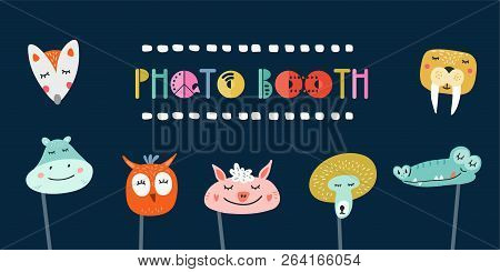 Kids Photo Booth Props Set Vector Illustration. Collection Of Animals Masks For Birthday Party Or Ma
