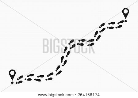 Human Footprints Tracking Path. Shoes Trail Track With Location Pin. Footsteps Route. Vector Illustr