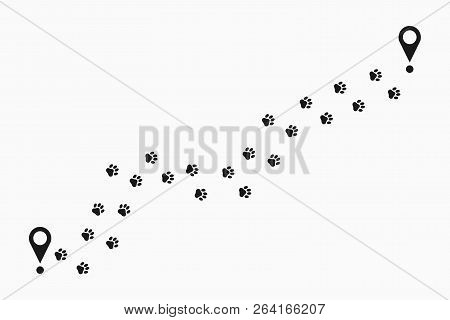 Paw Print Path. Animal Pawprint Trail Tracking With Location Pin. Paw Steps Route. Vector Illustrati