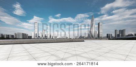 empty ground with modern cityscape shenzhen