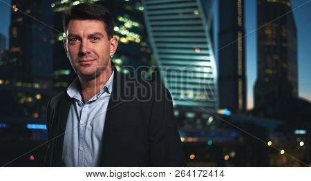 Handsome Business Man In Night City.