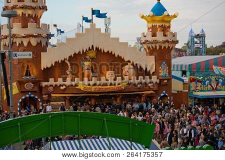 Munich, Germany - October 07, 2018: Crowds Of People At The Biggest Folk Festival In The World - The
