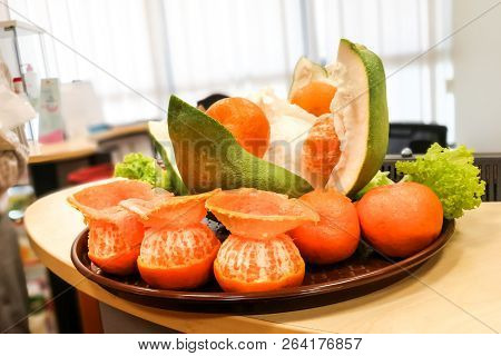 Prosperity Pomelo, Oranges, Salad Received From Lion After Dance Performance