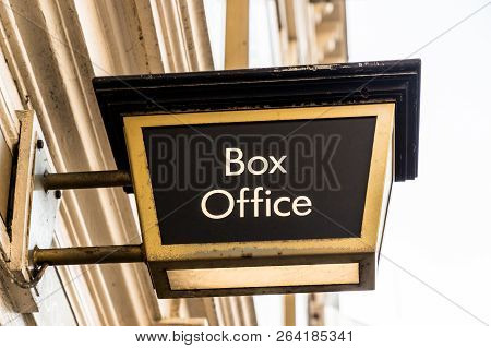 London October 2018. A View Of A Sign For The Box Office At The Lyceum Theatre In London