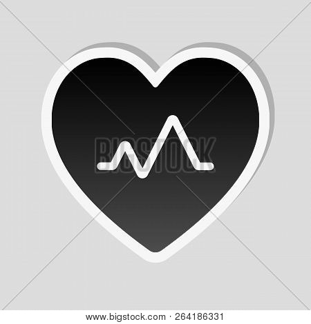 Cardiac Pulse. Heart And Pulse Line. Simple Single Icon. Sticker Style With White Border And Simple