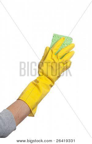 Holding a sponge isolated on white