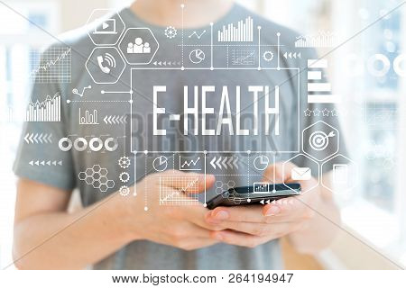 E-health With Young Man Using A Smartphone