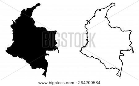 Simple (only Sharp Corners) Map Of Colombia Vector Drawing. Mercator Projection. Filled And Outline