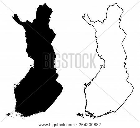 Simple (only Sharp Corners) Map Of Finland Vector Drawing. Mercator Projection. Filled And Outline V