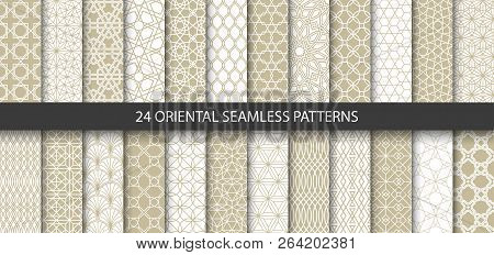 Big Set Of 24 Vector Ornamental Seamless Patterns. Collection Of Geometric Patterns In The Oriental