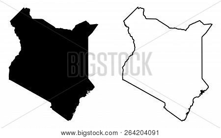 Simple (only Sharp Corners) Map Of Kenya Vector Drawing. Mercator Projection. Filled And Outline Ver