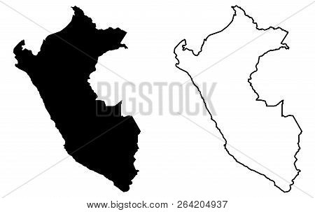 Simple (only Sharp Corners) Map Of Peru Vector Drawing. Mercator Projection. Filled And Outline Vers