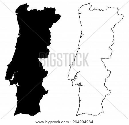 Simple (only Sharp Corners) Map Of Portugal Vector Drawing. Mercator Projection. Filled And Outline