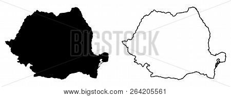 Simple (only Sharp Corners) Map Of Romania Vector Drawing. Mercator Projection. Filled And Outline V