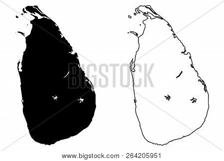 Simple (only Sharp Corners) Map Of Sri Lanka (ceylon) Vector Drawing. Mercator Projection. Filled An