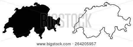 Simple (only Sharp Corners) Map Of Switzerland Vector Drawing. Mercator Projection. Filled And Outli