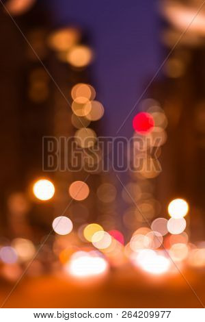 Abstract Bokeh City Street Lights At Night. Lights And Shadows Of New York City
