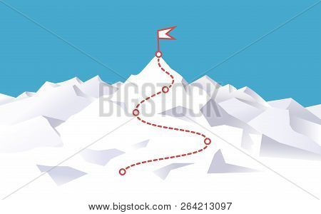 Mountain Climbing Route To Peak. Way To Success. Way To Top. Business Journey Path In Progress To Su
