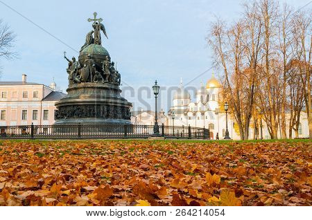 Monument Millenium Of Russia On The Background Of St Sophia Cathedral In Veliky Novgorod, Russia - A