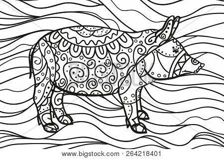 Wavy Wallpaper With Pig. Zentangle. Hand Drawn Waved Ornaments On White. Abstract Patterns