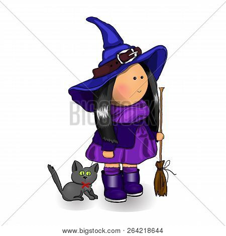 Halloween cute little Halloween witch doll with Halloween black cat and broom. Halloween vector cartoon illustration isolated on white background. Happy Halloween concept. Halloween monster party. Halloween kid. Halloween card.