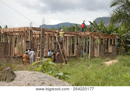 Abetifi, Ghana: July 20th 2016 - Building Site And Framework Of A New Church Being Erected Near Abet