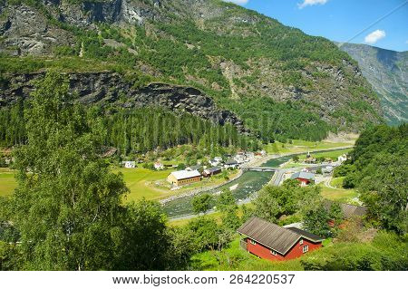 Myrdal-flam, Norway - July 16, 2018: Breathtaking Norwegian Fjord And Mountain Landscapes During The