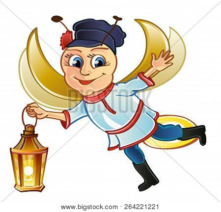 Good-natured Russian firefly in flight. Open arms. Russian folklore poster