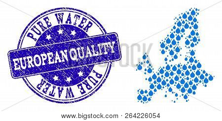 Map Of Euro Union Vector Mosaic And Pure Water Grunge Stamp. Map Of Euro Union Formed With Blue Wate