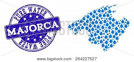 Map Of Majorca Vector Mosaic And Pure Water Grunge Stamp. Map Of Majorca Designed With Blue Aqua Rai