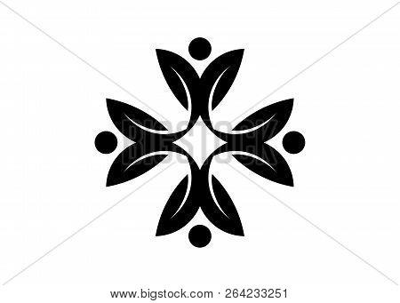 Human Character Vector Logo Concept Illustration. Abstract Man Figure Logo. People Logo. Friendship